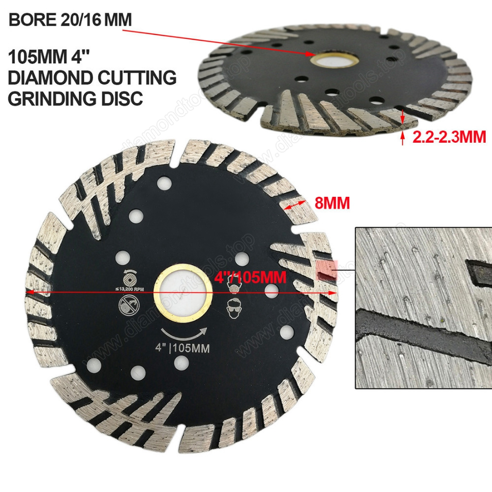 Hot pressed Diamond Turbo Blade with Slant Triangle teeth Diamond cutting disc for Multi puprose Grinding wheel