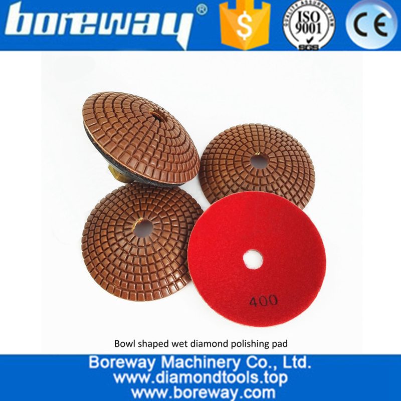 Convex Wet Use Marble Granite Diamond Polishing Pad with backer for polishing Concrete Quartz