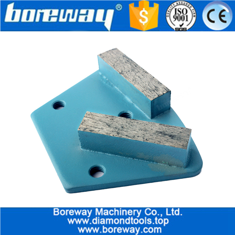 Diamond Trapezoid Metal Grinding Block With Two Segment Three Holes For Concrete Floor Grinding