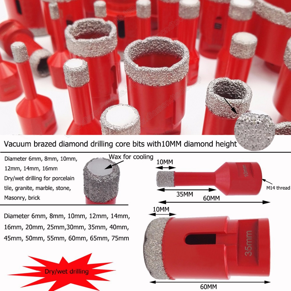 Vacuum brazed diamond core drill bit for tile porcelain and stone drill hole saw M14 thread 5MM-120MM