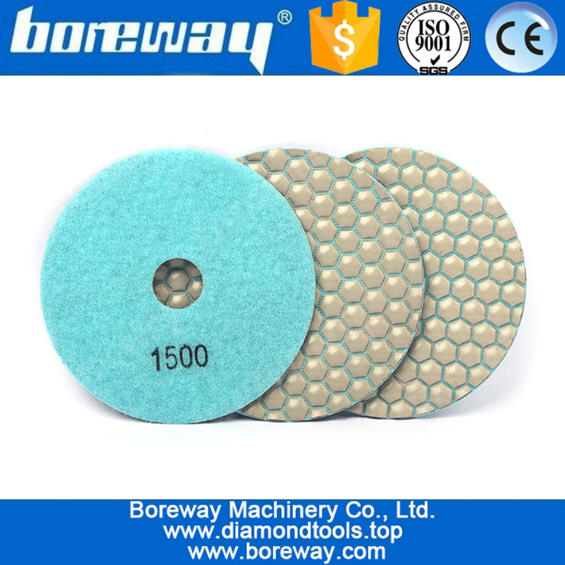 5 inch 3pcs 125mm Diamond Dry Polishing Pad For Flexible Stone Granite Marble