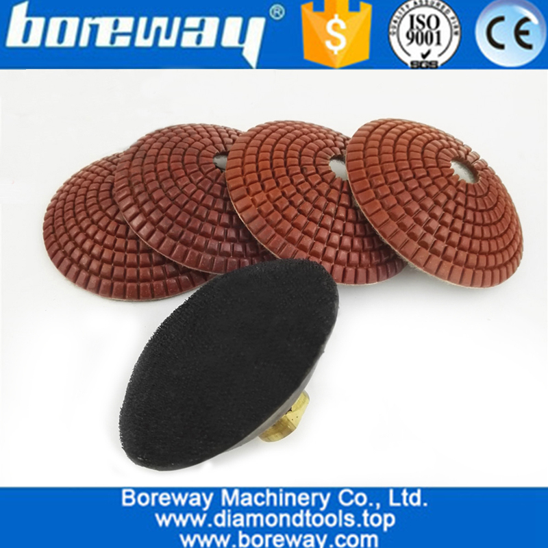 100mm #50 Convex Wet Diamond Polishing Pads With M14 Rubber Backer