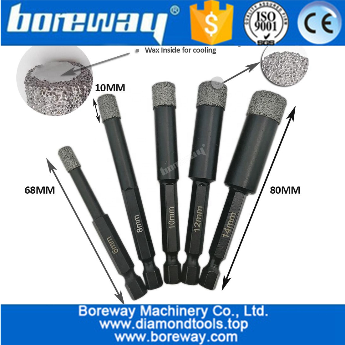 Vacuum Brazed Dry drilling core bits with quick-fit shank, best quality vacuum brazed diamond core drill bits
