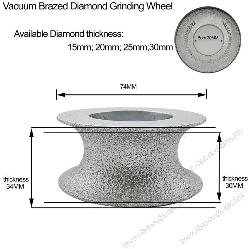 Vacuum Brazed Diamond Grinding Cup Wheels for half-round edge Grinding