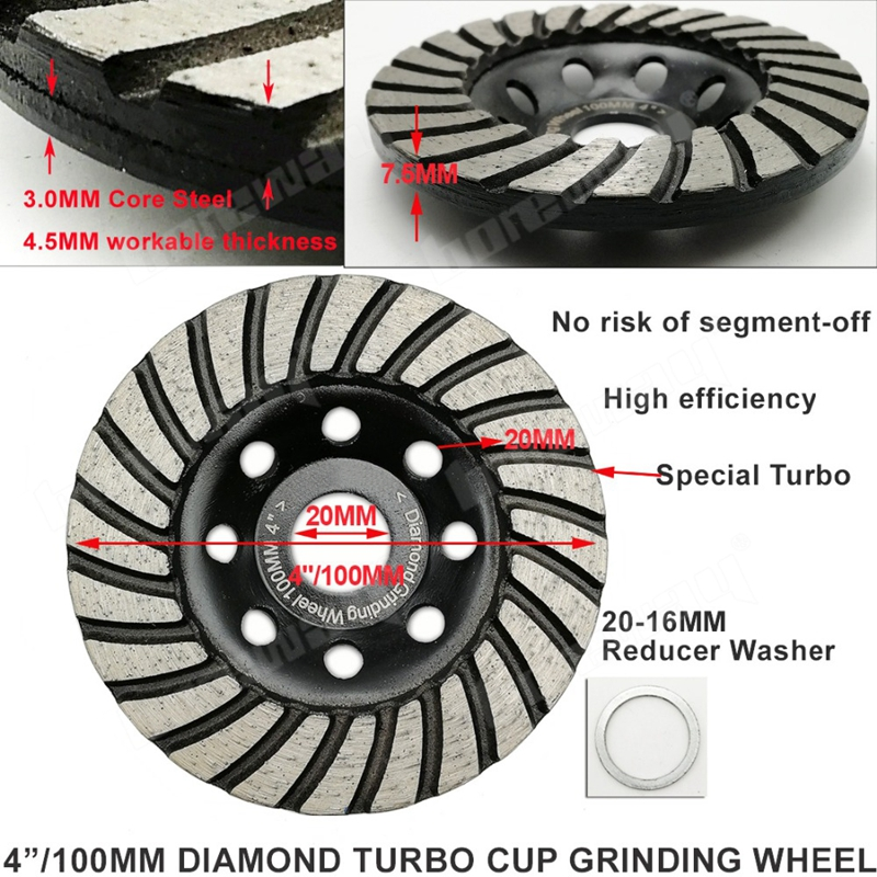 4 Inch Diamond Turbo Row Grinding Cup Wheel