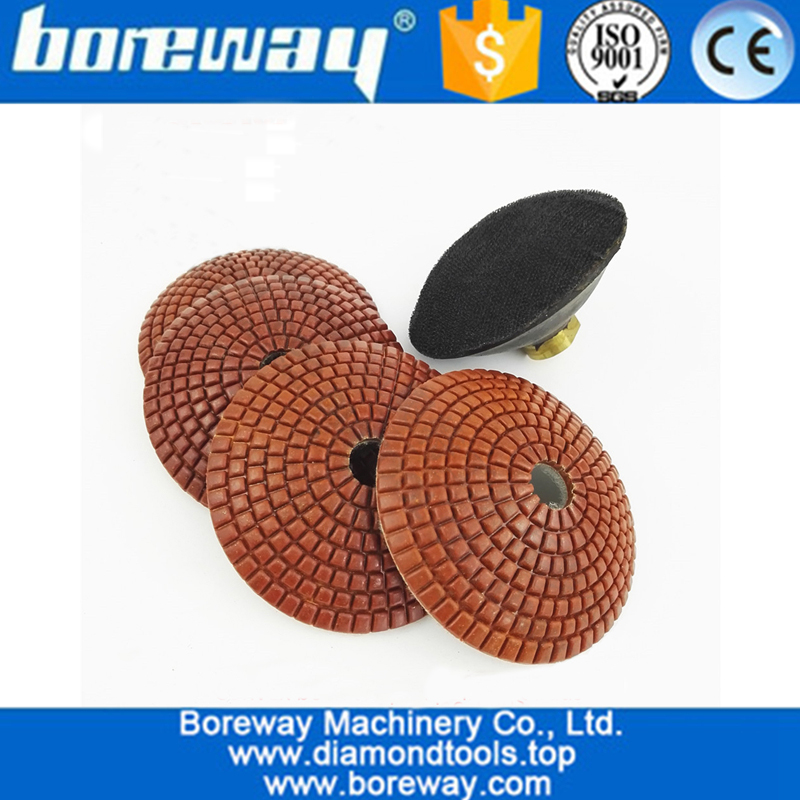 Convex Wet Diamond Polishing Pads With M14 Rubber Backer