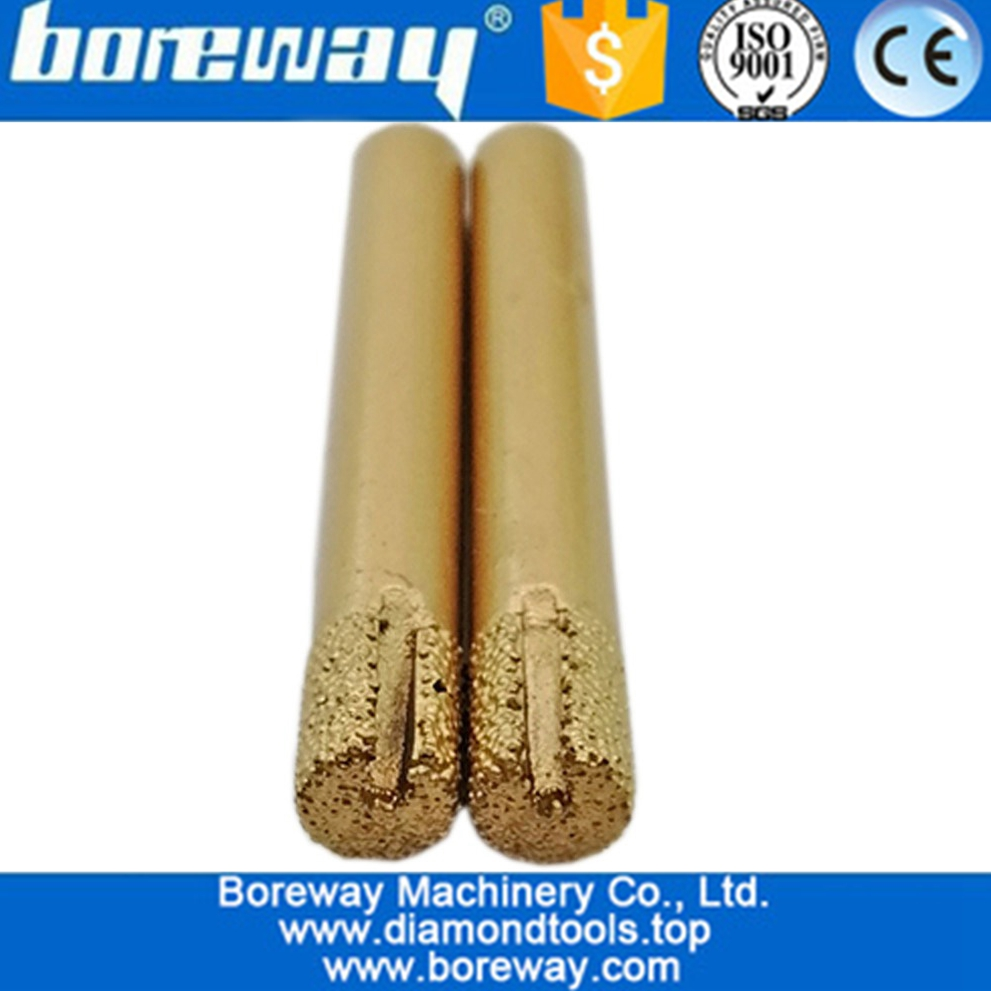 Slotted Flat End Straight Vacuum Brazed Engraving Bits For Stone,Vacuum Brazed Diamond Carving Bit
