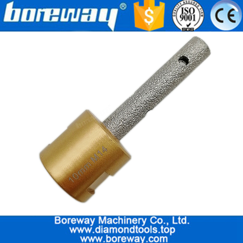 CNC Tools Dia.10mm Vacuum brazed diamond finger bits drilling bits with M14 Thread for stone granite marble