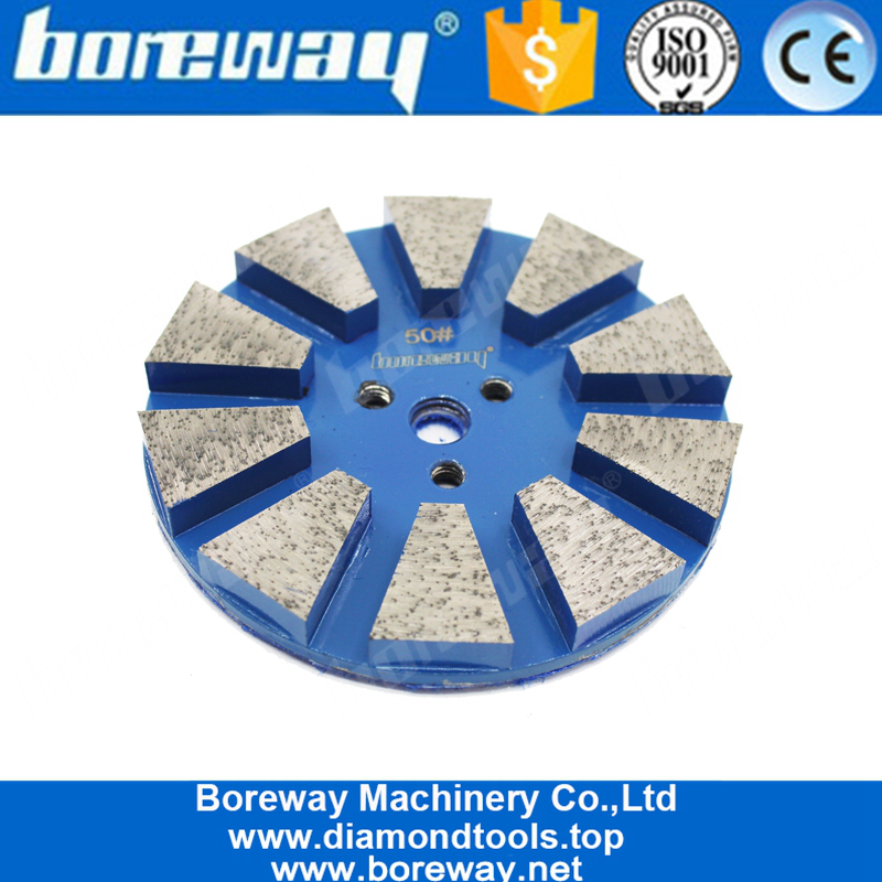 Trapzoid Tow Round Segment Grinding PCircular Shape Floor Metal Bond Grinding Polishing Pad With 10 Barad