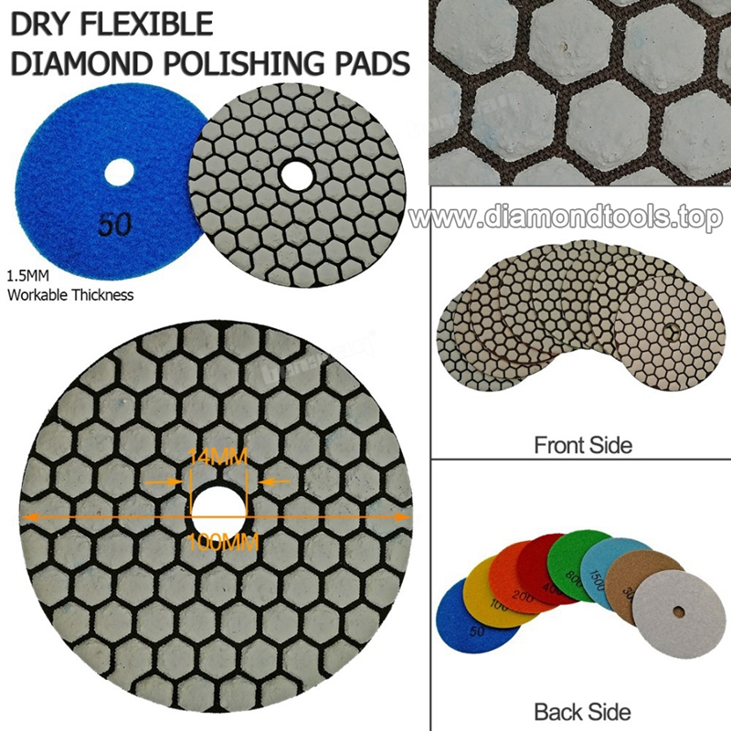 Dry Flexible Diamond Polishing Pads 4inch 100MM Resin Bond Diamond Flexible Diamond sanding disc 01