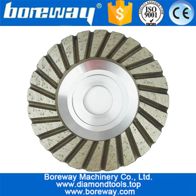 High quality flat turbo Aluminium base diamond grinding cup wheel for stone