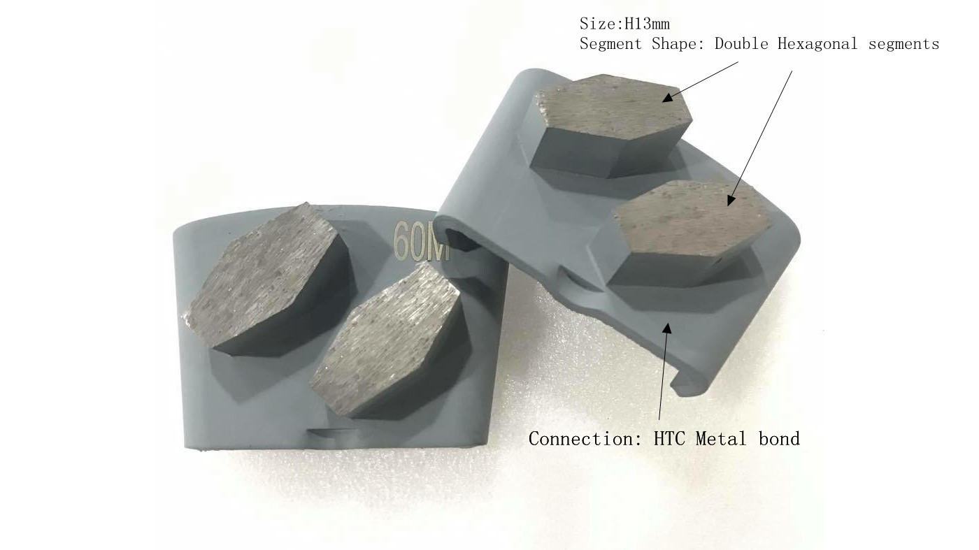 HTC Diamond Tools Concrete Grinding Wing With Double Hexagonal Segments