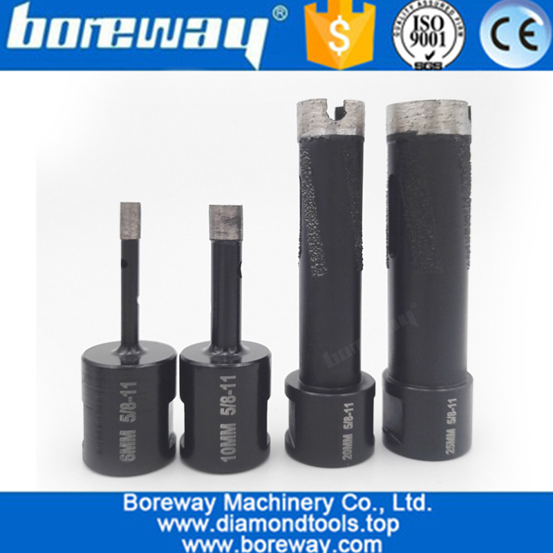 4Pcs Welded Diamond Drill Core Bits with 5/8-11 Thread for Drilling hard granite marble