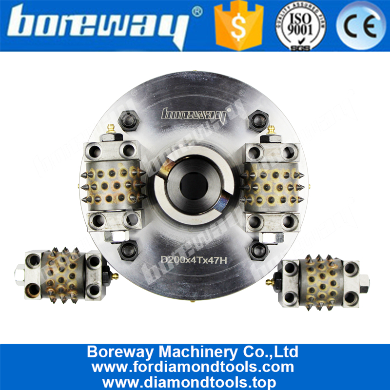 200MM 45 Teeth Carbide Bush Hammer Disc With 4 Rollers