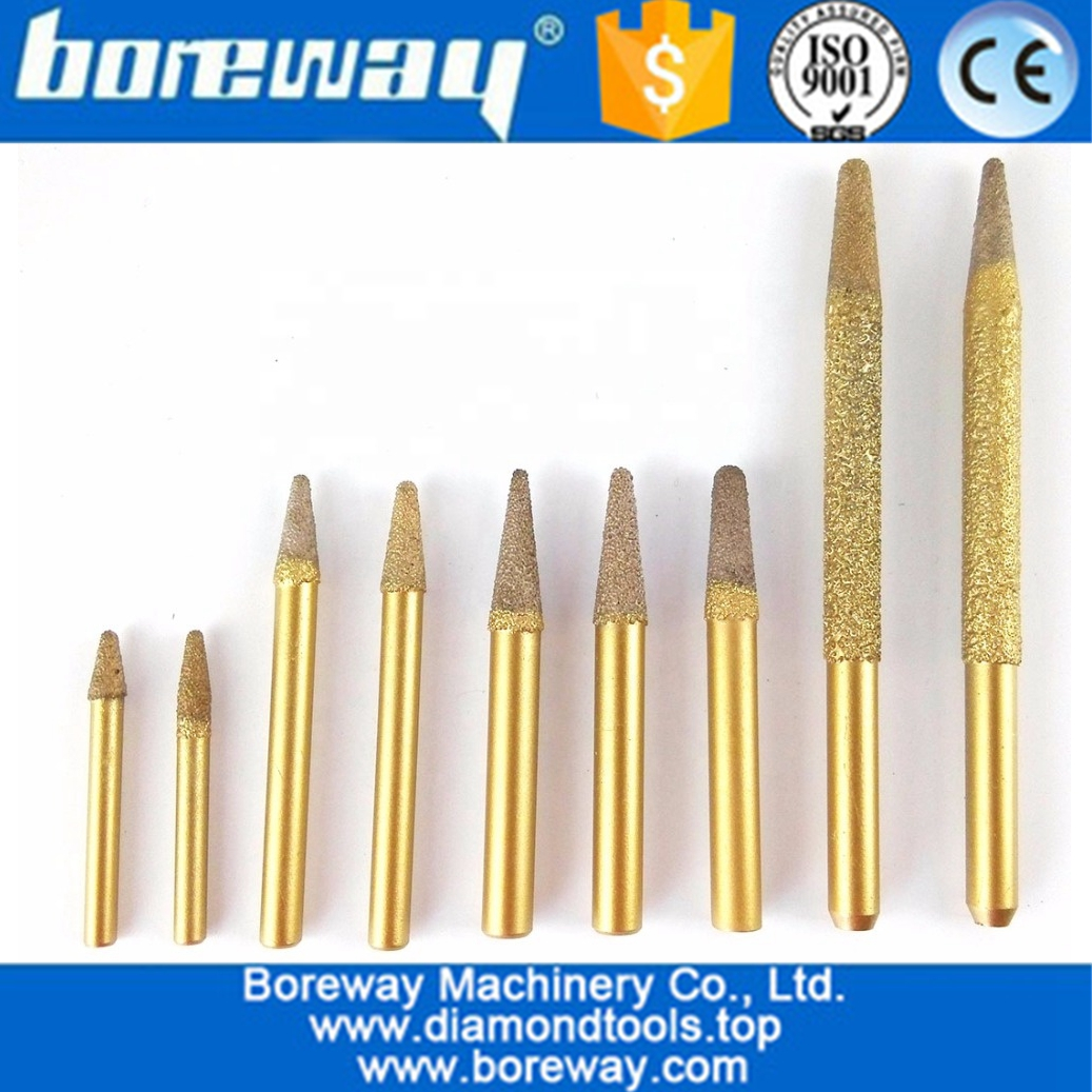 Vaccum Brazed Diamond engraving bitsTaper or Cone type with ball end