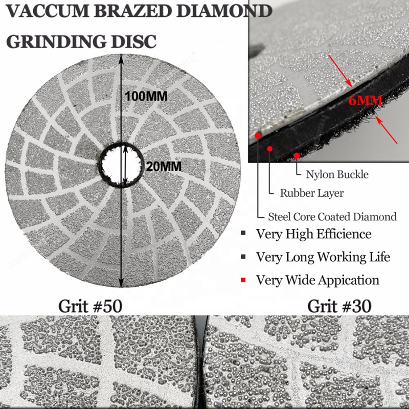 "4""  Vacuum Brazed Diamond Grinding Disc With Velcro Backed for Granite/Concrete"