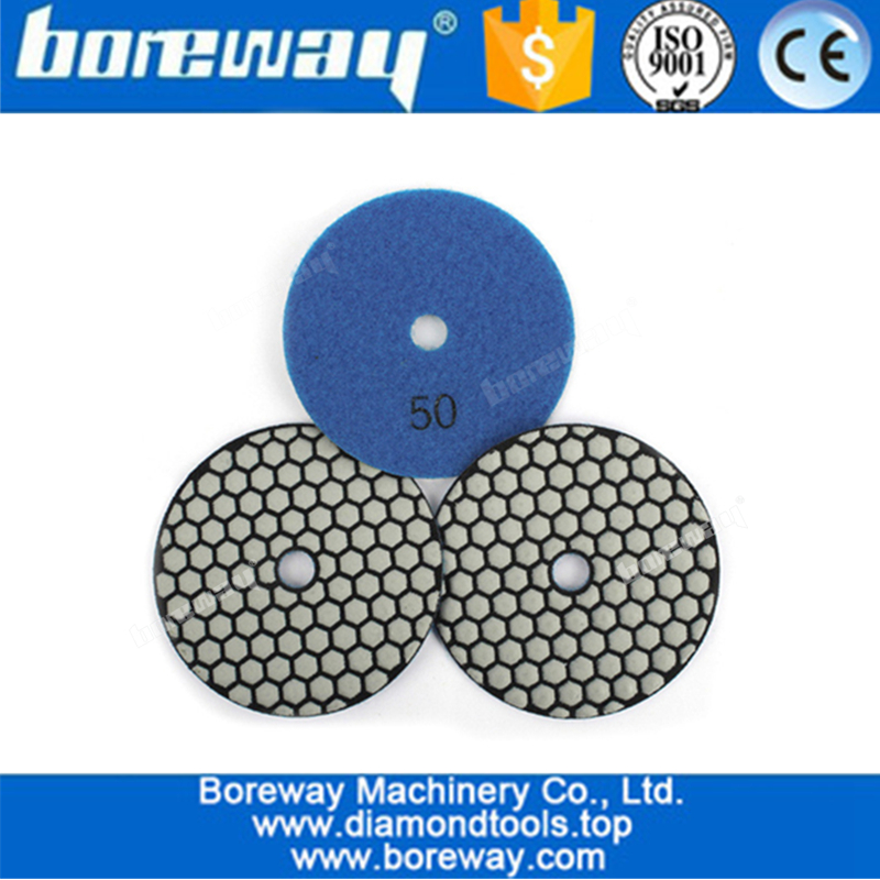 4 Inch Professional Flexible Dry Use Diamond Sanding Discs For Marble Granite Stone Polishing