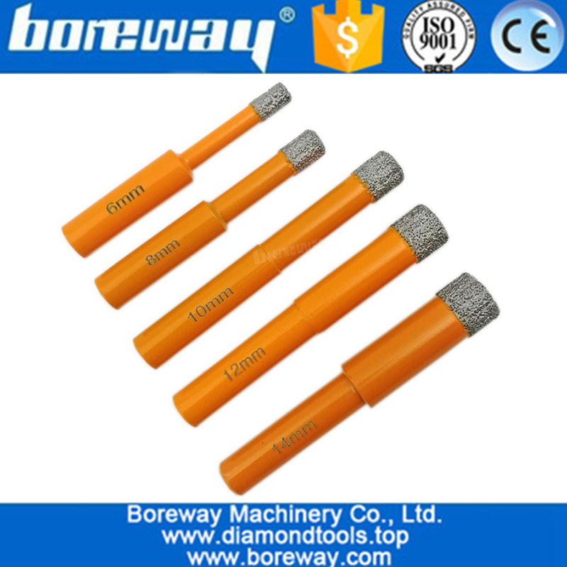 5Pcs/set Round Shank Vacuum Brazed Diamond Drill Bits for stone 03