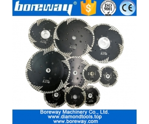 China 105mm to 230mm Hot pressed Diamond Turbo saw Blade with Slant Triangle teeth produce marble granite cutting disc manufacturer