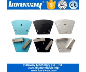 3 pcs Diamond Trapezoid Metal Grinding Block With Two Segment Three Holes For Concrete Floor Grinding