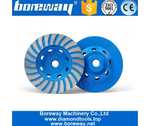 4 Inch Turbo Diamond Grinding Cup Wheel For Concrete Granite Marble