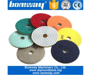 4 inch 100mm 7pcs diamond dry and wet polishing pads for granite and marble stone