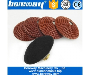 4Pcs 100mm  #50 Convex Wet Diamond Polishing Pads With M14 Rubber Backer 4inch Bowl Shaped Sanding Disc