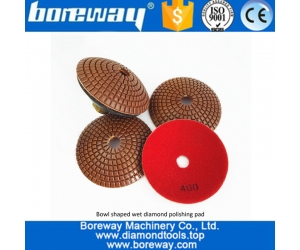 4inch #400 convex Wet Use Marble Granite Diamond Polishing Pad with backer for polishing Concrete Quartz