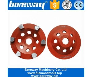5 Inch D125mm M14 Thread Holes Concrete Floor Diamond Concrete Grinding Wheel With Six Bullet Segments
