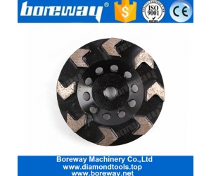 5 Inch Top Sharp 8 Arrow Segments Diamond Grinding Cup Wheel For Concrete Terrazzo Floor