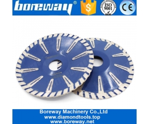Boreway 180mm T Protection Segment Concave Saw Blade Customize High Quality Disc Plate For Cutting Concrete Granite Marble Stone