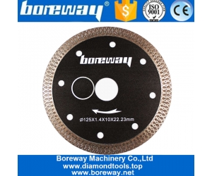 Boreway 125mm Hot Press Sintered Tile Turbo Mesh Blade For Granite Porcelain Glass Cutting