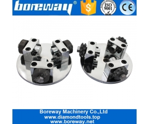 Boreway Supply 125MM 20 Grains With 3 Rollers Star Shape Bush Hammer Plate For Grinding Stone Granite Marble Concrete