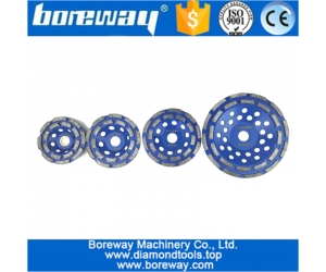 Double Row Segmented Diamond Cup wheel factory supply double row surface grinding wheel for granite stone