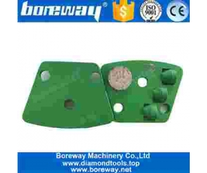 One Round Segment And 3x1/2 PCD Diamond Grinding Shoe For Concrete Surface