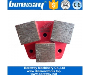 Three Square Segments Long Grinding Lifespan Trapezoid Diamond Grinding Block For Concrete