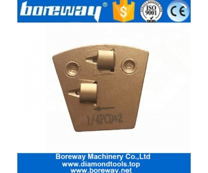 Two Quarter PCD Two Pins Quick Lock PCD Diamond Grinding Shoes For Epoxy Coating Removal