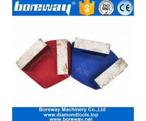 Two Rectangle Segments Single Pins Diamond Trapezoid Grinding Shoes For Concrete Grinder