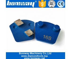 Two Rhombus Segments Double Pins Quick Lock Grinding Shoes For Concrete Floor Renovation