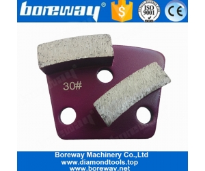 Two Segments M6 M8 Holes Metal Bond Trapezoid Diamond Grinding Pads For Concrete Floor