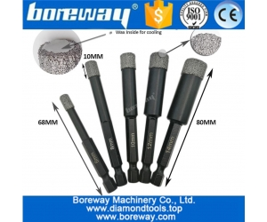 Vacuum Brazed Dry drilling core bits with quick-fit shank 6mm-14mm best quality vacuum brazed diamond core drill bits