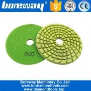 China 100mm #800 Floor Sponge Polishing Pads 4inch Diamond Resin Bond Floor Polishing Pads for concrete marble factory