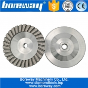 China 125mm Aluminum Based Diamond Turbo Grinding Wheel M14 or 5/8-11 Thread diamond grinding cup wheel for Granite marble factory