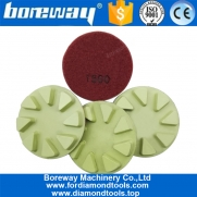 China 3inch Flower diamond floor polishing pads #1500 Resin bond diamond floor renew sanding disc factory