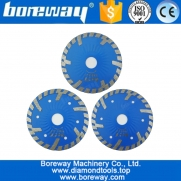 "China 4 ""4.5"" 5 ""lâmina de serra de diamante Hot pressionado Diamond Wave Turbo Blade com Slant Protection dentes Stone Concrete Cutting Disc fabricante fábrica"