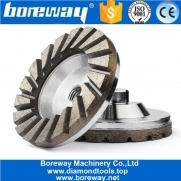China 4 Inch Aluminum Base Turbo Diamond Cup Wheel For Concrete Granite factory