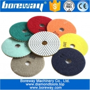 China 4 inch 100mm 7pcs diamond dry and wet polishing pads for granite and marble stone factory