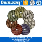 China 4inch 100mm Hexagon Resin Bond Dry Polishing Pads For granite Marble Floor factory