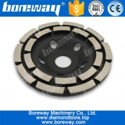 China 5inch diamond cup grinding wheel with double row segment for concrete natural stone factory
