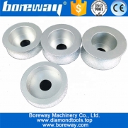 China 75mm Vacuum Brazed Diamond hand profile Wheel diamond grinding cup wheel for half-round edge Grinding on marble granite factory